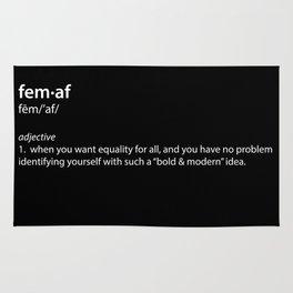 fem·af definition, typography black and white Rug
