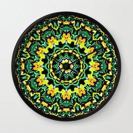 Orange Yellow and Green Kaldeidoscope 2 Wall Clock