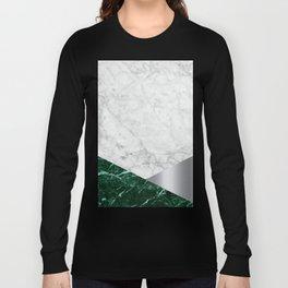 White Marble - Green Granite & Silver #999 Long Sleeve T-shirt