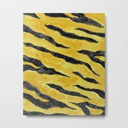 Tiger Stripes Gold & Black Metal Print
