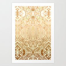 Tribal Swirl Pattern in Neutral Tan and Cream Art Print
