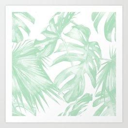 Light Green Tropical Palm Leaves Print Art Print