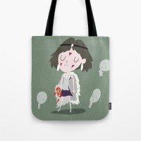 princess mononoke Tote Bags featuring Princess Mononoke by Rod Perich