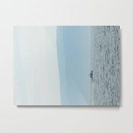Boat & Mountain Metal Print