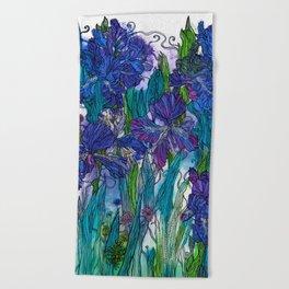 Blue Irises Beach Towel