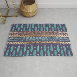 Gold Teal and Purple Arrows Tribal Aztec Pattern Rug