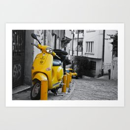 YELLOW MOTORCYCLE SCOOTER IN VINTAGE STREET Art Print