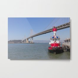 The Red Tugboat Metal Print
