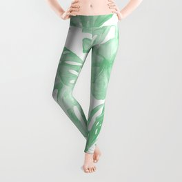 Tropical Island Republic Green and White Leggings