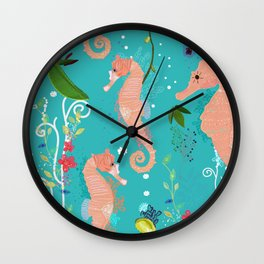 Seahorse and sea plants. Colorful underwater pattern Wall Clock