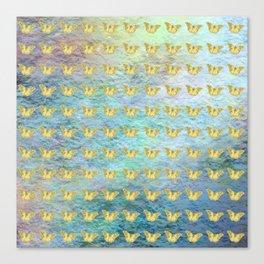 Gold butterflies on textured background Canvas Print