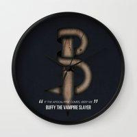 buffy the vampire slayer Wall Clocks featuring Buffy The Vampire Slayer. Tv Alphabet by Repulp
