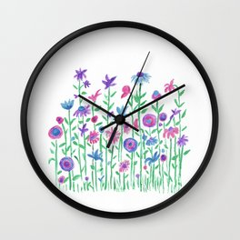 Cheerful spring flowers watercolor Wall Clock