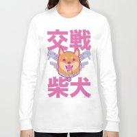 shiba inu Long Sleeve T-shirts featuring Battle Shiba Inu by ChangBaby