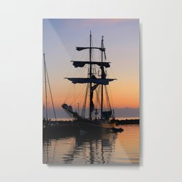 Vintage Silhouetted Sunset Sail Boat Metal Print