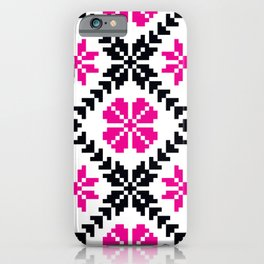 Ethnic Folk Eastern European Embroidery with Pink Flowers iPhone Case
