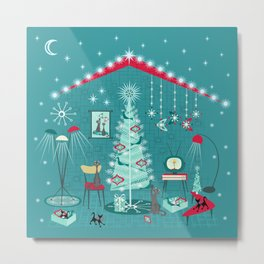 Retro Holiday Decorating ii Metal Print