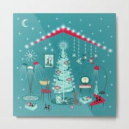 Retro Holiday Decorating ii Metal Print