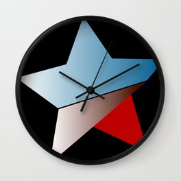 Ombre blue red star on black background Wall Clock