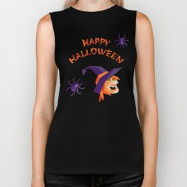 Halloween slogan with witch head Biker Tank