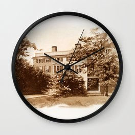 Vintage Sketched House in Sepia Wall Clock
