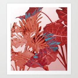 Big Jungle Leaves red watercolor Design Art Print