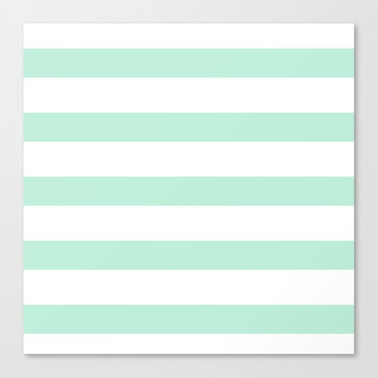 Maritime - Mint green and White stripes-horizontal Canvas Print