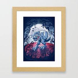 Werewolf Scratching Spooky Fleas Framed Art Print