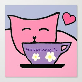 Happiness Is Cats and Tea Canvas Print