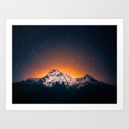 Night Sky Landscape Photography Stars Sky Orange Glow Vintage Mountain Art Print