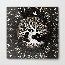 Tree of Life - Yggdrasil - black white and gold Metal Print