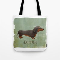 dachshund Tote Bags featuring Dachshund by 52 Dogs