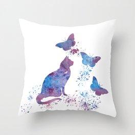 Colorful Cat Art Throw Pillow