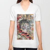 lip V-neck T-shirts featuring Lip Service by Katy Hirschfeld