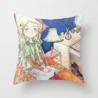 luna lovegood Throw Pillows featuring Luna Lovegood by malipi