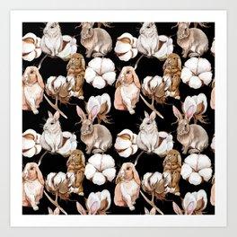 Cotton Flower & Rabbit Pattern on Black 02 Art Print
