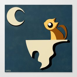Kitty and Moon Canvas Print