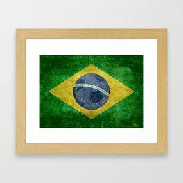 Flag of Brazil with football (soccer ball) retro style Framed Art Print