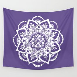 Ultraviolet Flower Mandala Wall Tapestry