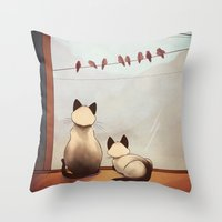 friendship Throw Pillows featuring Friendship by Naomi VanDoren