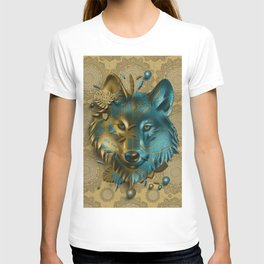 wolf art decor gold T-shirt