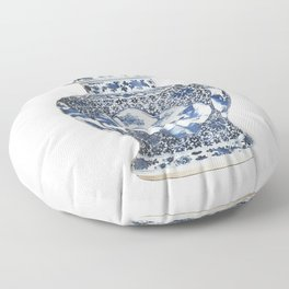 Blue & White Chinoiserie Porcelain Ginger Jar with Country Scene Floor Pillow