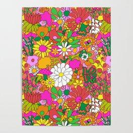 60's Groovy Garden in Neon Peach Coral Poster