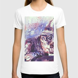 Kitten playing with scratching post colorful watercolor painting kitten artwork T-shirt