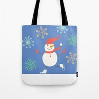 snowman Tote Bags featuring Snowman by Mr and Mrs Quirynen