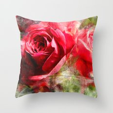 Red Roses Bouquet Throw Pillow