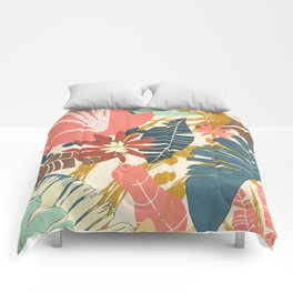 Tropical Flowers and Leaves Comforters