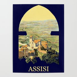 Vintage Litho Travel ad Assisi Italy Poster