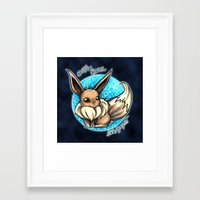 eevee Framed Art Prints featuring 133- Eevee by Lyxy