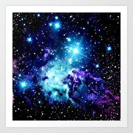 Fox Fur Nebula Turquoise Blue Purple Black Art Print